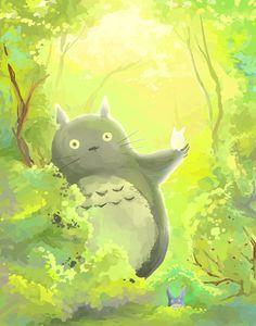 Totoro on a sunny day in the woods Japanese Animated Movies, Studio Ghibli Movies, Manga Artist, My Neighbor Totoro, Anime Films, Hayao Miyazaki, Pretty Art, Online Art Gallery, Cute Drawings