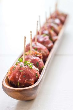 Stuffed Prosciutto Meatballs with Cranberry Glaze #passtheprosciutto