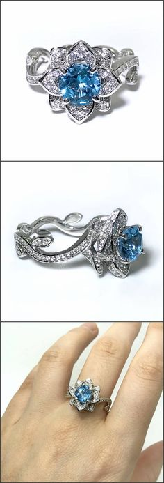 Gorgeous ring with natural topaz and Swarovski cubic zirconia. Engagement ring. Birthstone ring. Blue topaz ring. Topaz engagement. Promise ring. Flower ring. unique ring.
