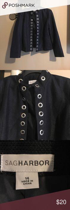 Sag Harbor blazer sz 14 Navy blue and silver rings blazer Sag Harbor Jackets & Coats Blazers