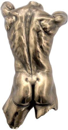 Male Nude Torso Hanging Wall Sculpture Art Available at AllSculptures.com