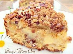 Apple Nut Sour Cream Coffee Cake...This is one terrific coffee cake! This is a nice thick cake, moist, full of flavors and fruit. There's pecans, brown sugar and cinnamon yumminess inside the cake as well as on top of the cake.