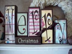 Merry Christmas blocks. $22.00, via Etsy.