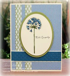 blue and green sympathy card.  Unfortunately, needing more of this type of card.  Nicely done Tara Bilbao! Stampin' Up!