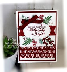 Items similar to Christmas Card- Stampin' Up Holly, Jolly and Bright on Etsy Christmas Punch, Christmas Card Crafts, Stampin Up Christmas, Holiday Ornaments, Christmas Holiday, Christmas Ideas, Fall Cards, Winter Cards, Xmas Cards