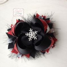 Snowflake hair bow red black and silver by JoyfulJossyBowtique