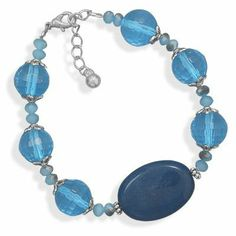 7 + 1 Inch Teal Agate and Blue Glass Fashion Bracelet West Coast Jewelry. $19.95. Save 50% Off!