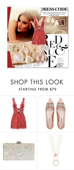 """lace"" by lifestyle-ala-grace ❤ liked on Polyvore featuring Misbehave, Whiteley, Mon Cheri, Miu Miu, Edie Parker, Kate Spade, red, nude, lacedress and birthdaystyle"