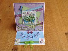 3D easel card with embroidery, blue flowers in wooden pot - 3D  & geborduurde easelkaart, blauwe bloemen in houten bakje