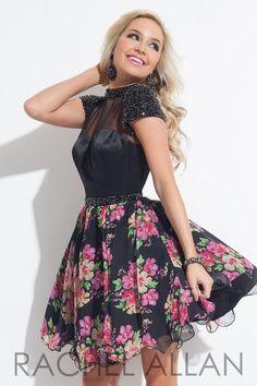 Rachel Allan 4070 Print Homecoming Dress- Short cap sleeve printed chiffon homecoming dress features a full floral skirt and beaded belt to emphasize the waist line.