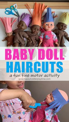 Baby Doll Haircuts is an adorable and super easy to create fine motor scissor skills activity for preschoolers and kindergartners!