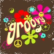 Groovy, peace, love hippie art design poster.