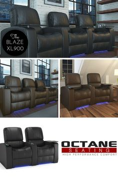 Introducing the XL900 Blaze theater seat....our latest new style from Octane Seating.  Featuring deep bucket style seating along with subtle cobalt blue ambient base rail lighting and premium top grain leather - the time to take that home theater step is right now!