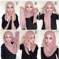 Tutorial Hijab Pesta This one looks very cute 💕👍🏻 Hijab Chic, Hijab Elegante, Stylish Hijab, Casual Hijab Outfit, Stylish Outfits, Tutorial Hijab Pesta, Tutorial Hijab Pashmina, Simple Hijab Tutorial, Hijab Style Tutorial