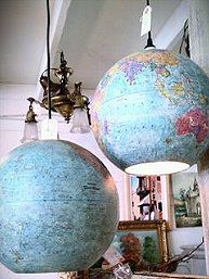 decorate with globes...cool light globe to hang from the ceiling hook