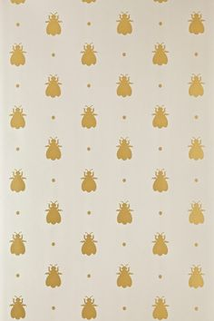 """Farrow & Ball - Bumble Bee BP 525 - This was originally found in Josephine Bonaparte's bed chamber as a silk fabric. Featuring an enchanting myriad of bumble bees and sprinkled with cheeky polka dots, this is a hypnotic design that inspires a beguiling sense of childish innocence and playfulness. Full roll width is 53cm/21"""", roll length is 10m and pattern repeat is 16cm/6 1/4"""". Available in eight colourways."""
