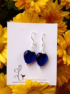 Royal Blue Heart Earrings by ALittleBitPrettyShop on Etsy, $12.00