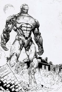 A Sentinel Without Color And Yes That Is The Wreckage Of Xavier's School!