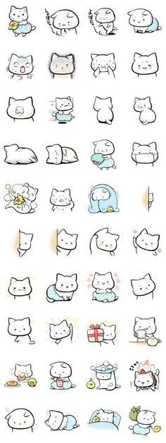 Cats anime kawaii life Ideas for 2019 Kawaii Doodles, Cute Doodles, Kawaii Drawings, Easy Drawings, Tier Doodles, Animal Doodles, Kawaii Cat, Line Sticker, Cute Stickers