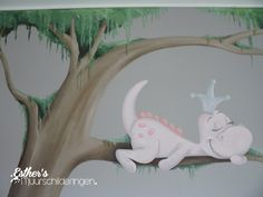 Muurschildering babykamer van Dirkje draak in een boom. Zie ook mijn Facebookpagina: https://www.facebook.com/esthersmuurschilderingen/