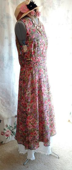 VINTAGE FLORAL DRESS Long Length Kim Rogers by MissPoppysFancy