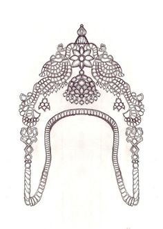 sketched Vanki (arm band) a traditional Indian ornament. This particular one is very typical of Tamil temple jewelry, usually made in gold, and studded with precious stones. Indian Jewelry Sets, Indian Jewellery Online, Indian Jewellery Design, India Jewelry, Temple Jewellery, Vanki Designs Jewellery, Bali, Jewelry Design Drawing, Gold Earrings Designs