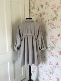 04a7e52aa0 Homespun Linen Coat   Washed Natural Linen   Button Down Front Prairie Coat    Big Pockets   Made To Order   Color Choices