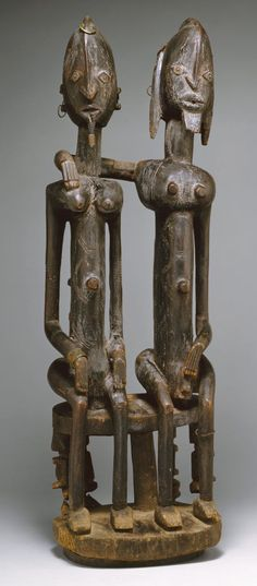 Seated Couple Date: century Geography: Mali, southern cliff Culture: Dogon peoples Medium: Wood, metal Dimensions: H. x cm) Classification: Wood-Sculpture Michel Leiris, Afrique Art, Art Tribal, African Sculptures, Art Premier, African Masks, West Africa, Ancient Art, Oeuvre D'art