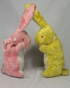 Pair of Vintage Stuffed Rabbits Easter Bunnies Expert Doll Toy Co New York