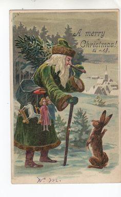 C454 Postcard Christmas Santa Claus Green Suit with Bunny Rabbit Dolls 1905