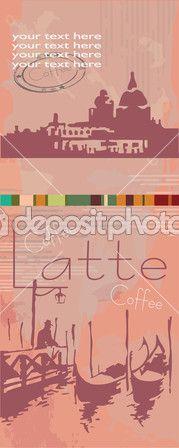 кофе в мире. Венеция, gondoly, силуэт — Векторная картинка #32383899