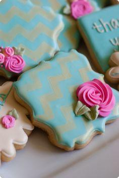 Oro Chevron estarcido floral le agradece cookies ... dicen que 3 veces rápido.