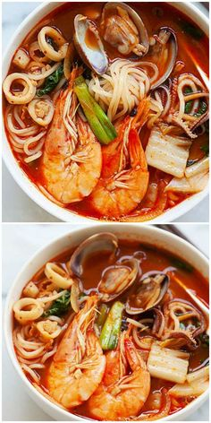 Low Carb Recipes To The Prism Weight Reduction Program Korean Seafood Noodle Soup Jjamppong - Yummy Noodles In Spicy Soup With Shrimp, Clams, Squid, Scallop And Veggies. This Recipe Is So Good You've Gotta Make It Korean Soup Recipes, Seafood Soup Recipes, Asian Recipes, Healthy Recipes, Ethnic Recipes, Seafood Ramen, Korean Seafood Soup Recipe, Noodle Recipes, Healthy Food