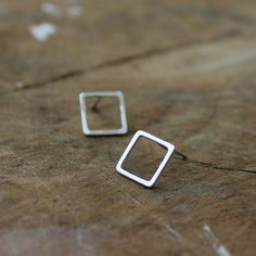 Silver square earrings handmade stud earrings by AMEjewels on Etsy