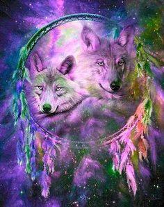 Wolf Dream Catcher...By Artist Unknown...
