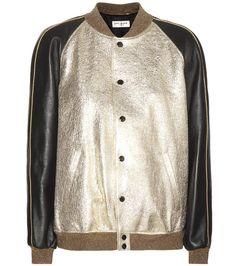 Saint Laurent - Veste bomber en cuir texturé métallisé or et cuir lisse noir à ornements en sequins