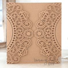 Doily Laser Cut Range in Kraft  Laser cut wedding invitations perfect for your luxury wedding. DIY laser cuts are easy and elegant with options to insert your own printer inserts.