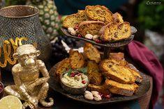 Pikante Pistazien Cantuccini mit Pistazien Feta Dip Curry, Feta Dip, Party Buffet, Stuffed Mushrooms, Vegetables, Dips, Pistachios, Almonds, Italian Biscuits