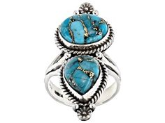 Pear shape and oval cabochon blue turquoise sterling silver ring. Measures approximately x x shank. Not sizeable. Turquoise Gemstone, Turquoise Jewelry, Topaz Earrings, Broken Chain, Blue Topaz Ring, Stone Rings, Jewelry Collection, Fashion Jewelry, Gemstones