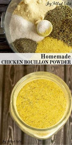 Chicken Bouillon Powder - Low Carb, Keto, Gluten-Free, THM FP - When you are in a pinch or just want a healthy chicken broth substitute … Homemade Dry Mixes, Homemade Spices, Homemade Seasonings, Homemade Chicken Bouillon Recipe, Chicken Bouillon Powder Recipe, Chicken Broth Recipes, Vegan Chicken Seasoning Recipe, Vegan Bouillon Recipe, Canning Recipes
