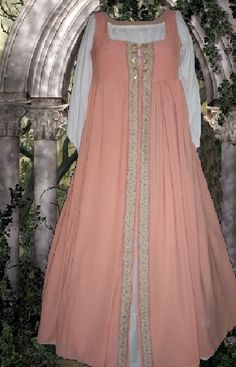 Sweet Peach Cotton Irish Style Front-Lacing Medieval Empire Waist Overdress    For your consideration is a peach cotton blend front-lacing