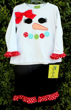 Stellybelly Snowman Applique Girls Pant Set