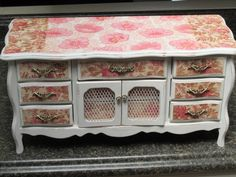 White Jewelry Box with Coral and Pink Floral Decoupage, Extra Large, Shabby Chic          ,Downton Abbey Inspired