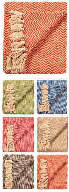 Chevron soft cotton handloom throw