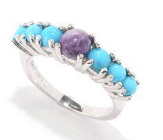 ❌S O L D❌Gem Insider SS Sleeping Beauty Turquoise Purple Charoite Ring Sz 8 Ret $104 | eBay