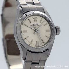 1965 Vintage Rolex Ladies Oyster Perpetual Ref. 6623 Machined Bezel Stainless Steel watch with Original Silver Dial with Applied Steel Stick/Bar/Baton Markers with Original Rolex Stainless Steel Oyste