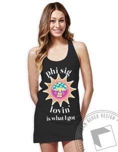 Phi Sigma Sigma - Sun Lovin' Tank Dress (Black)  by ABD BlockBuy! Just $19-22 each plus shipping until June 1   Adam Block Design   Custom Greek Apparel & Sorority Clothes   www.adamblockdesign.com