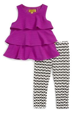 Nicole Miller Knit Ruffle Top & Print Leggings Set (Toddler Girls & Little Girls) Little Girl Leggings, Toddler Leggings, Little Girl Outfits, Little Girl Fashion, Toddler Outfits, Kids Outfits, Winter Outfits, Toddler Girl Style, Toddler Fashion