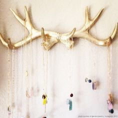 Faux Deer Antlers Rack in Gold - Deer Antler Decor Wall Hook & Jewelry Organizer Wall - Rustic Resin Decor by White Faux Taxidermy Hangings Jewelry Organizer Wall, Wall Organization, Jewellery Storage, Jewelry Organization, Jewelry Rack, Head Jewelry, Hanging Jewelry, Jewellery Boxes, Etsy Jewelry