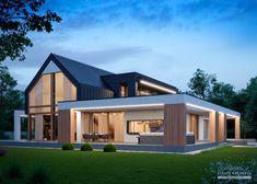 Modern Tiny House, Modern Barn, Modern House Plans, Modern House Design, Wall Exterior, Exterior Design, Architecture 101, Modern Farmhouse Exterior, Facade House